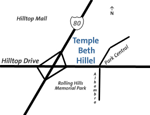 Map to Temple Beth Hillel Richmond